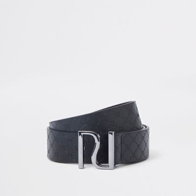 Boys Black Ri Embossed Buckle Belt by River Island