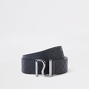 Zwarte riem met RI-logo in reliëf en gesp voor jongens