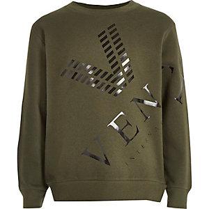 Kaki sweatshirt met venti-print voor jongens