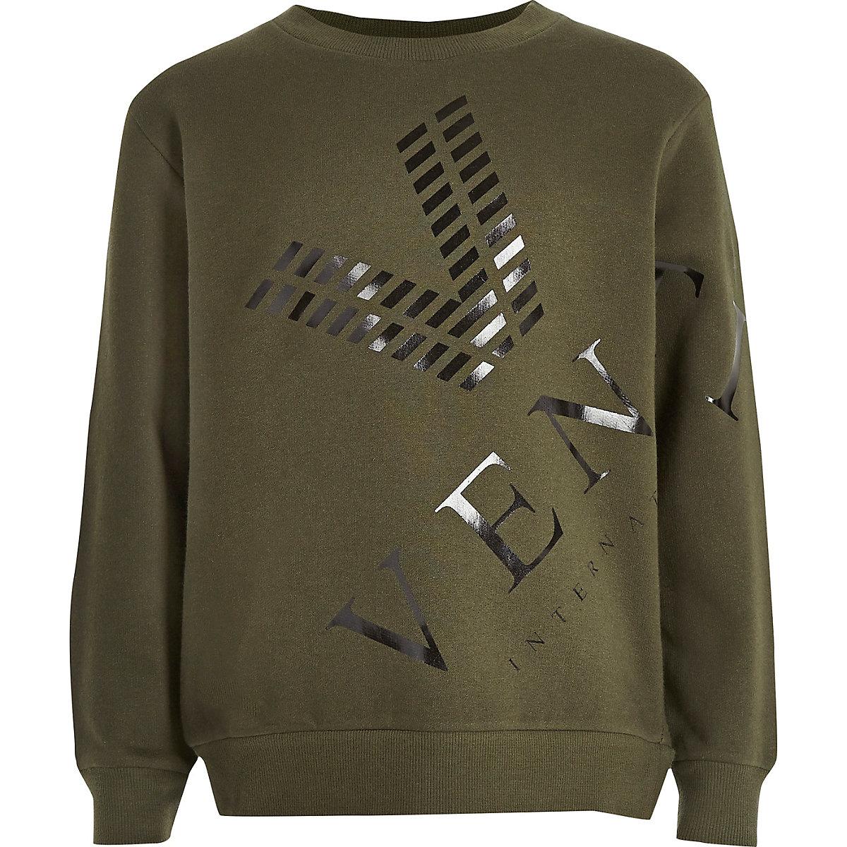 Boys khaki venti print sweatshirt