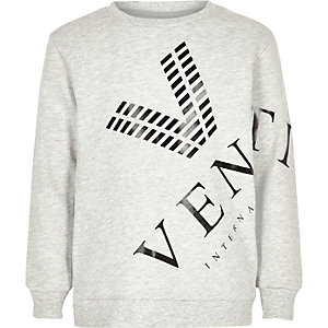 Grijs gemêleerd sweatshirt met venti-print voor jongens