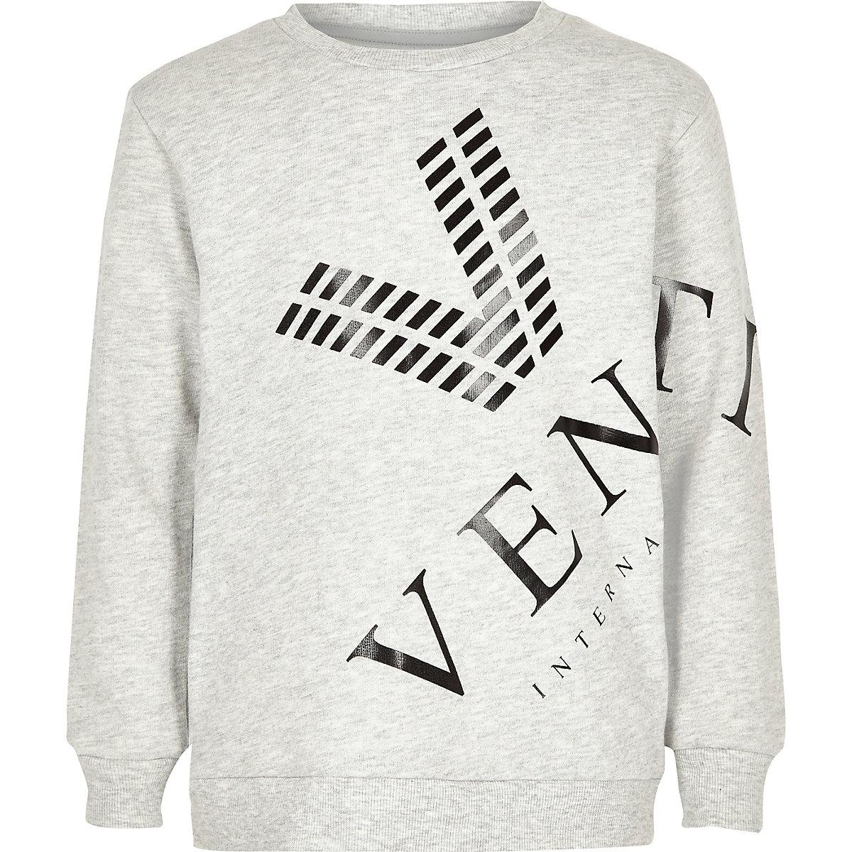 Boys grey marl venti print sweatshirt