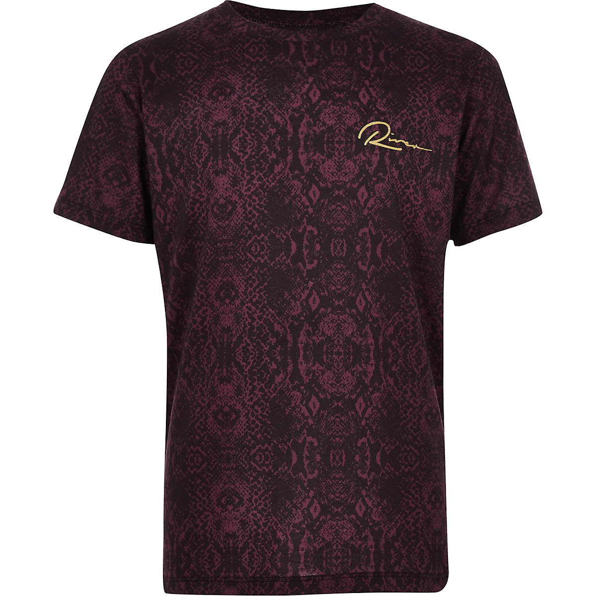 Boys burgundy snake print T-shirt