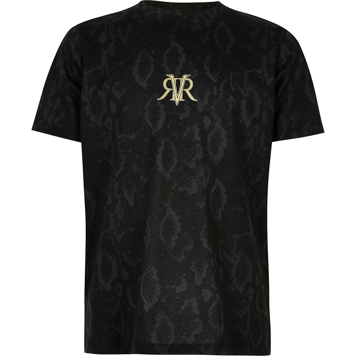 Boys black snake print RI mono T-shirt