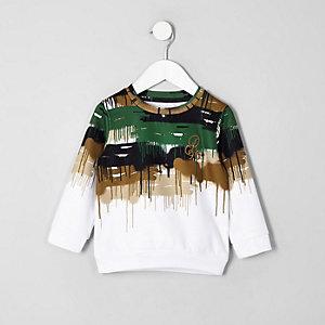 Mini - Wit sweatshirt met camouflage- en 'R96'-print voor jongens