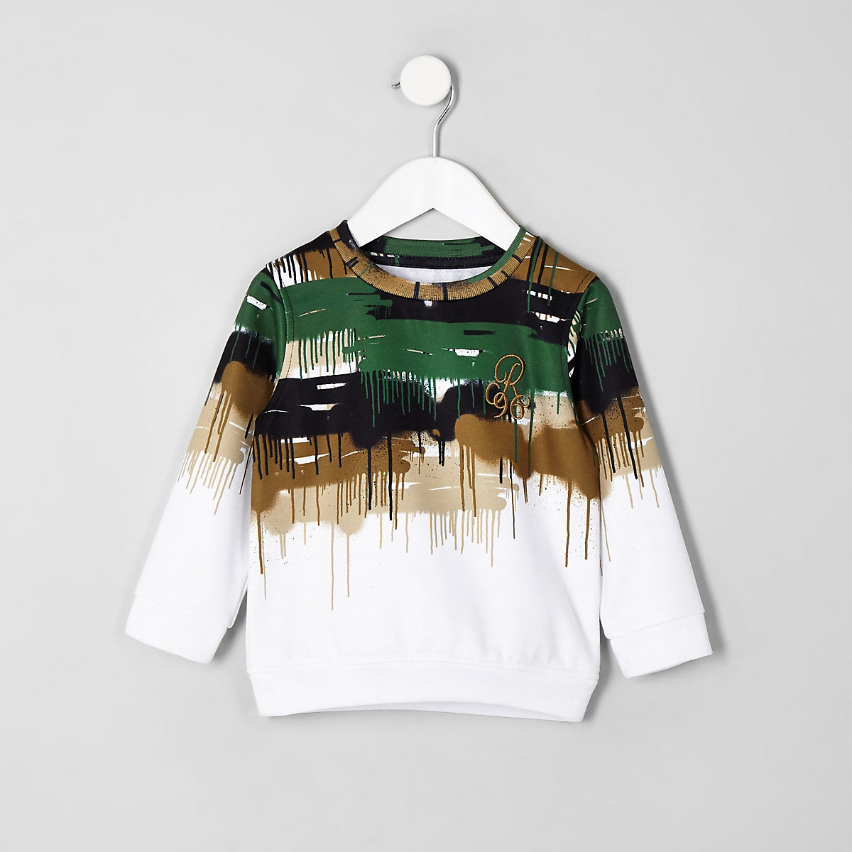Mini boys white camo drip 'R96' sweatshirt