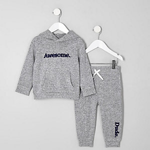 Mini boys grey 'Awesome' cosy hoodie outfit