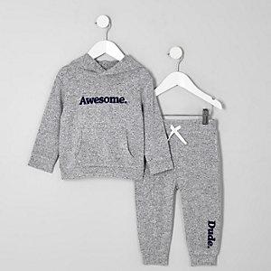 Mini - Outfit met grijze comfortabele hoodie en 'Awesome'-print