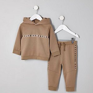 Ensemble avec sweat à capuche « Exclusive » grège mini fille