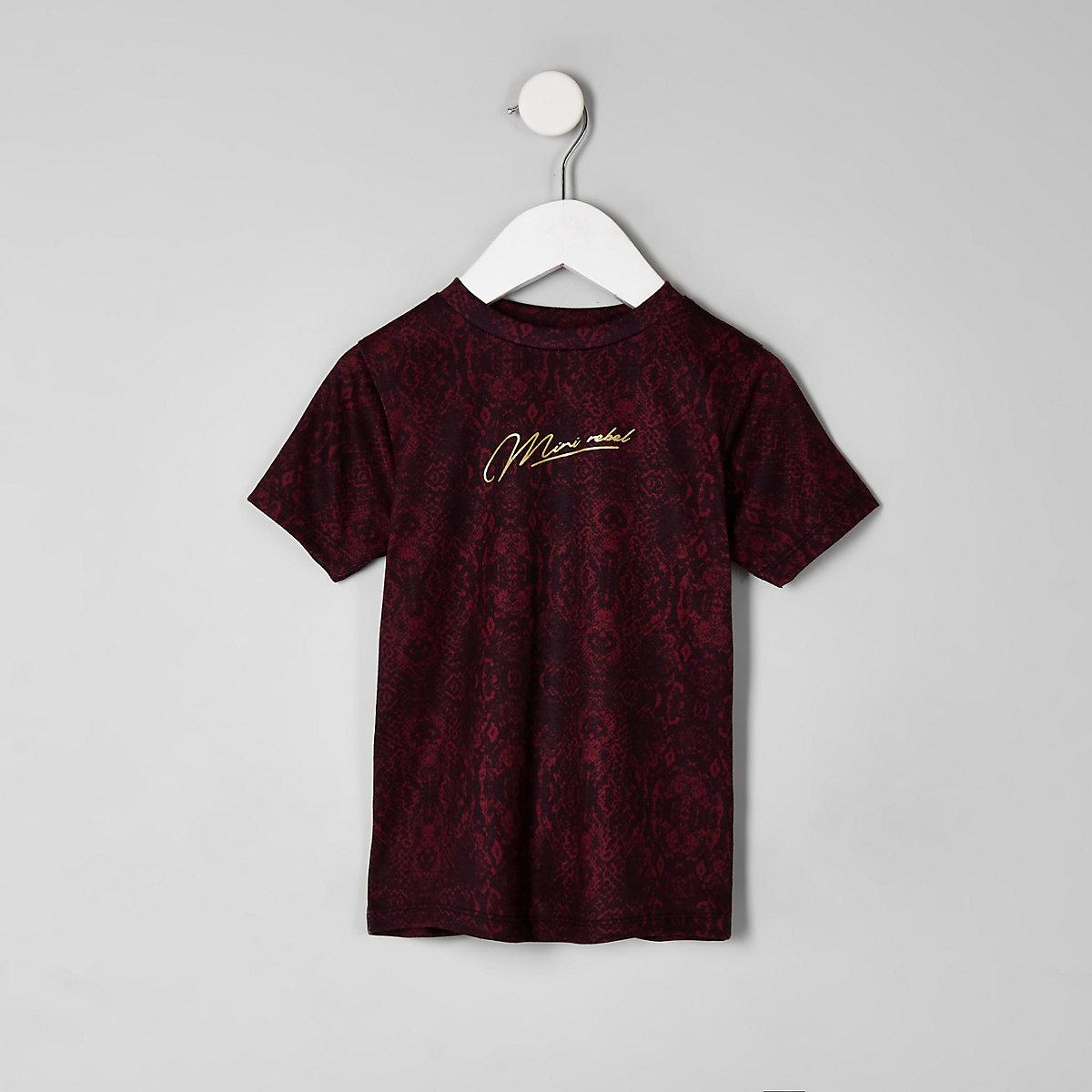 Mini boys burgundy 'Mini rebel' T-shirt