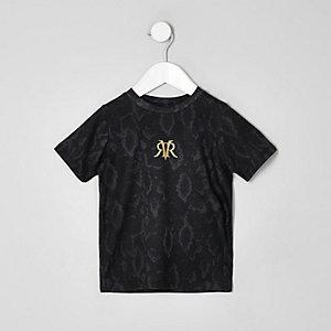 Schwarzes Mono-T-Shirt in Schlangenlederoptik