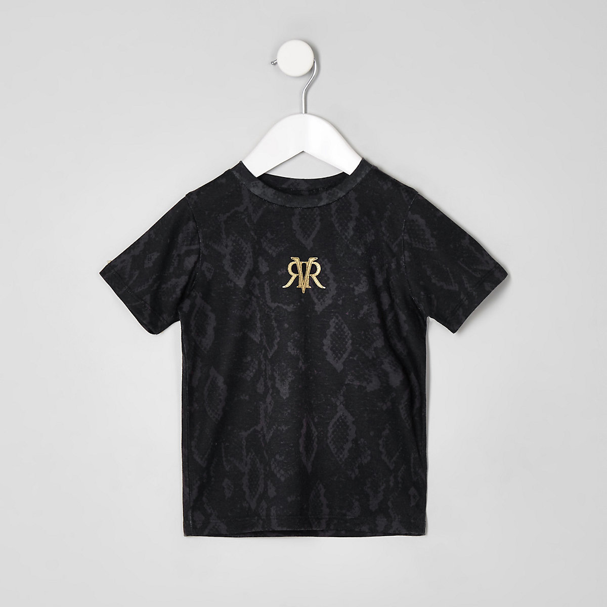 Mini boys black mono snake print T-shirt