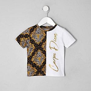 Mini - Wit T-shirt met 'carpe diem'-print en splitten voor jongens