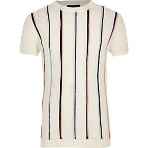 T-shirt en maille rayé écru pour garçon