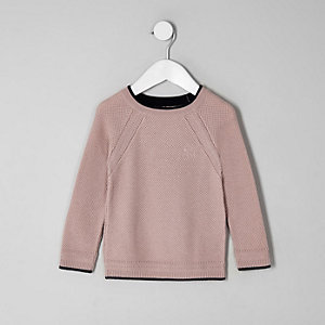 Mini boys pink knit monty sweater