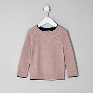 Mini - Roze gebreide pullover voor jongens