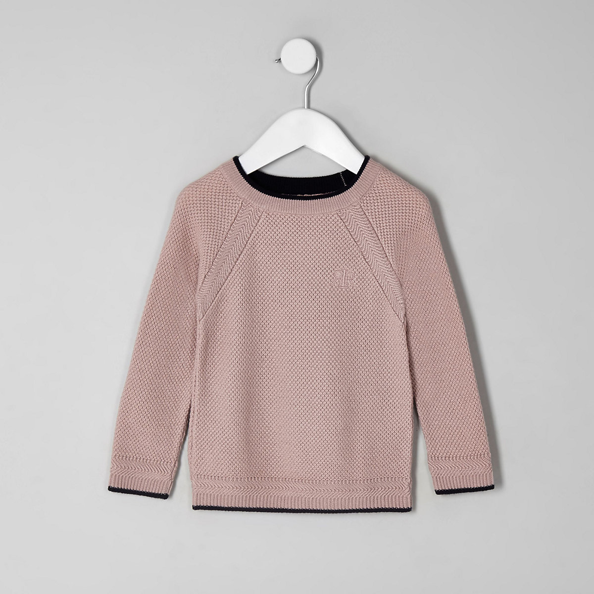 Mini boys pink knit monty sweater