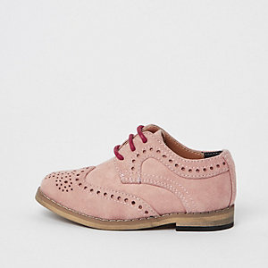 Mini boys pink suede brogues
