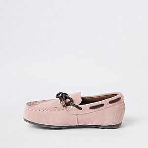 Mini boys pink tie front driver shoes