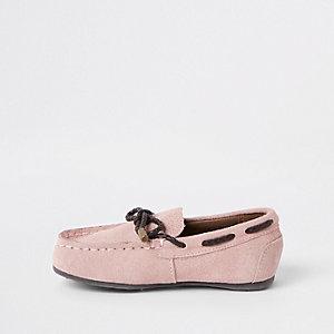 Mini - Roze mocassins met strik voor jongens