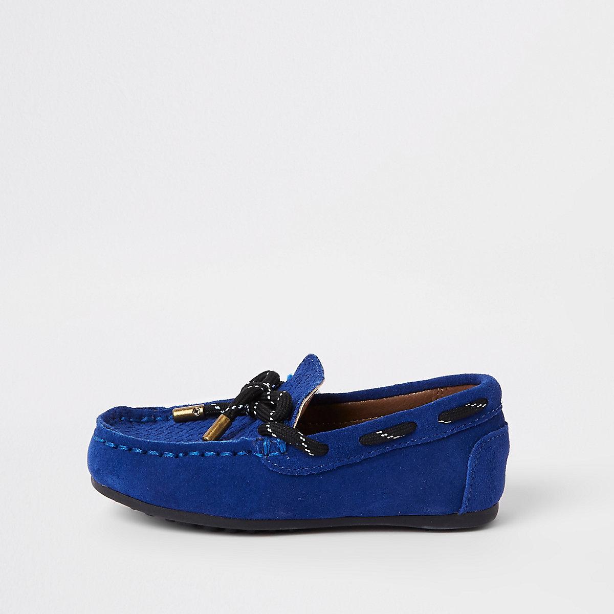 Mini boys blue tie front driver shoes
