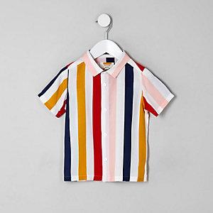 Mini - Wit gestreept overhemd met korte mouwen voor jongens