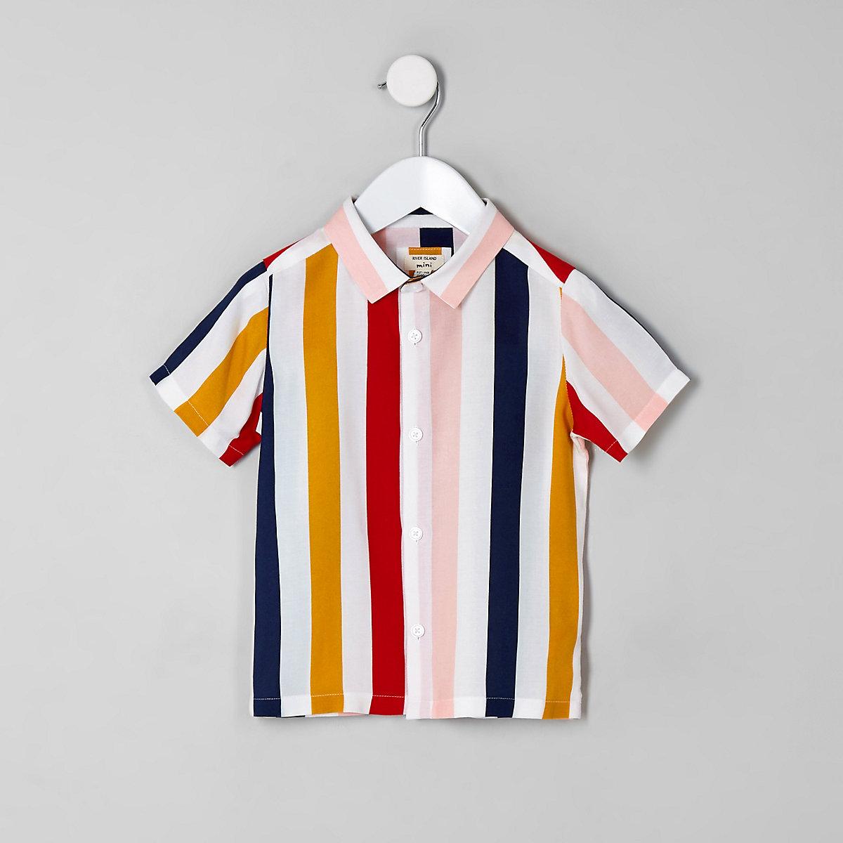 Mini boys white stripe short sleeve shirt