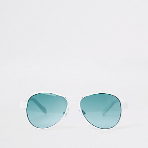 Lunettes de soleil aviateur blanches à verres bleus pour garçon
