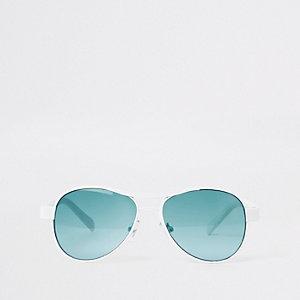 Witte pilotenzonnebril met blauwe glazen voor jongens