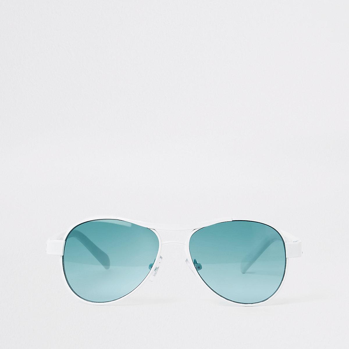 Boys white aviator blue lens sunglasses