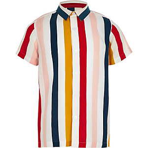 Boys white stripe short sleeve shirt