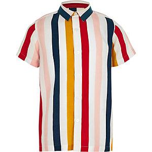 Wit gestreept overhemd met korte mouwen voor jongens