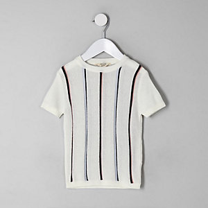 Mini boys ecru stripe knitted T-shirt