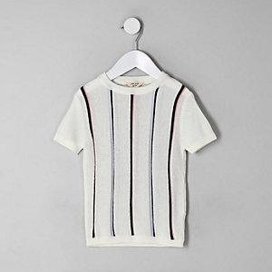 Mini - Ecru gestreept gebreid T-shirt voor jongens