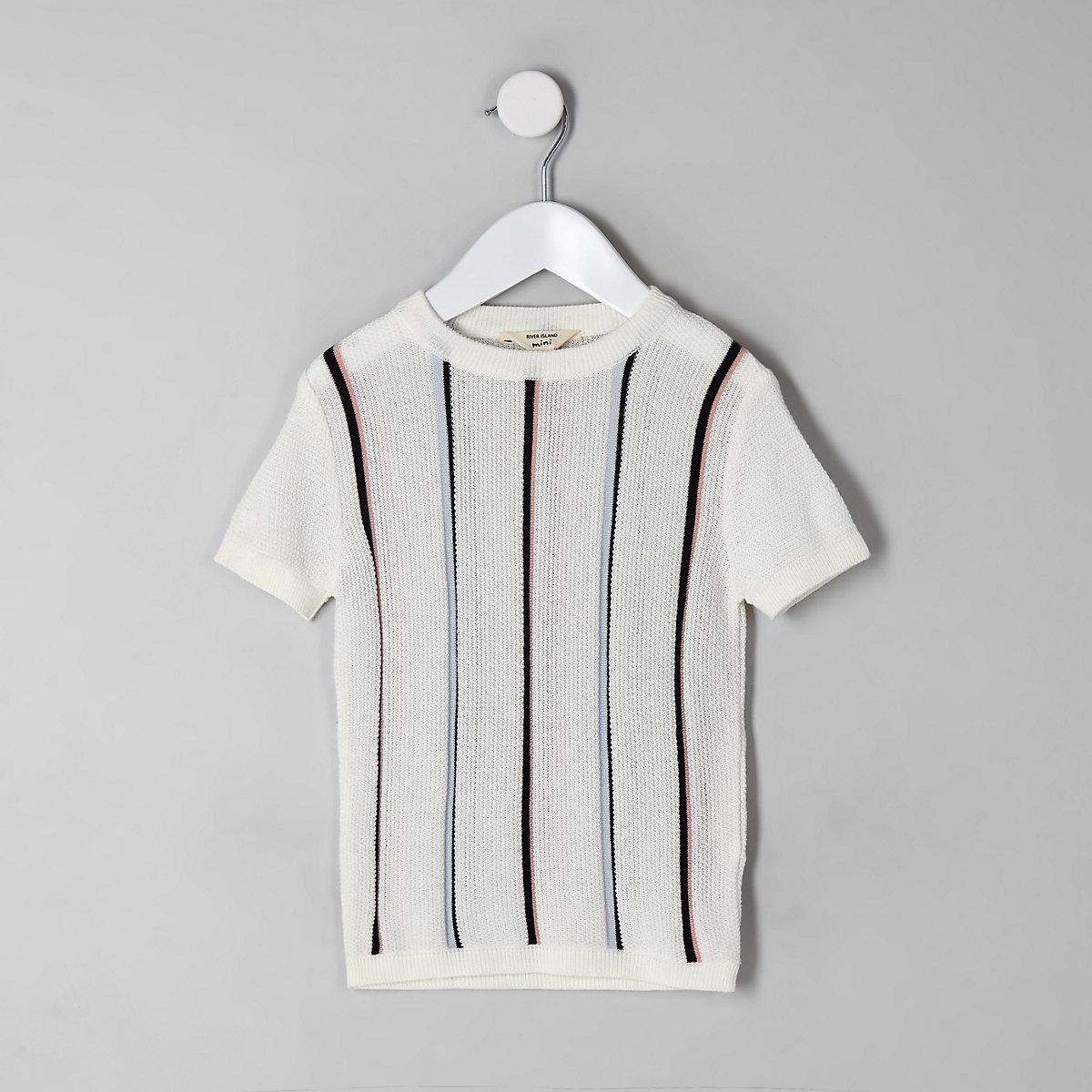 Mini boys ecru stripe knitted T-shirt