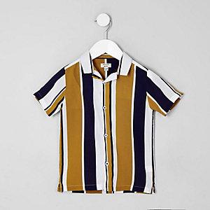 Chemise rayée jaune à manches courtes pour mini garçon