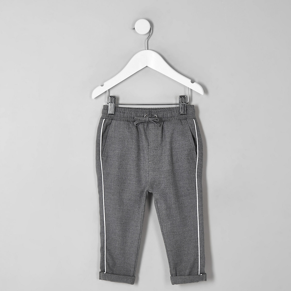 Mini boys grey piped trousers