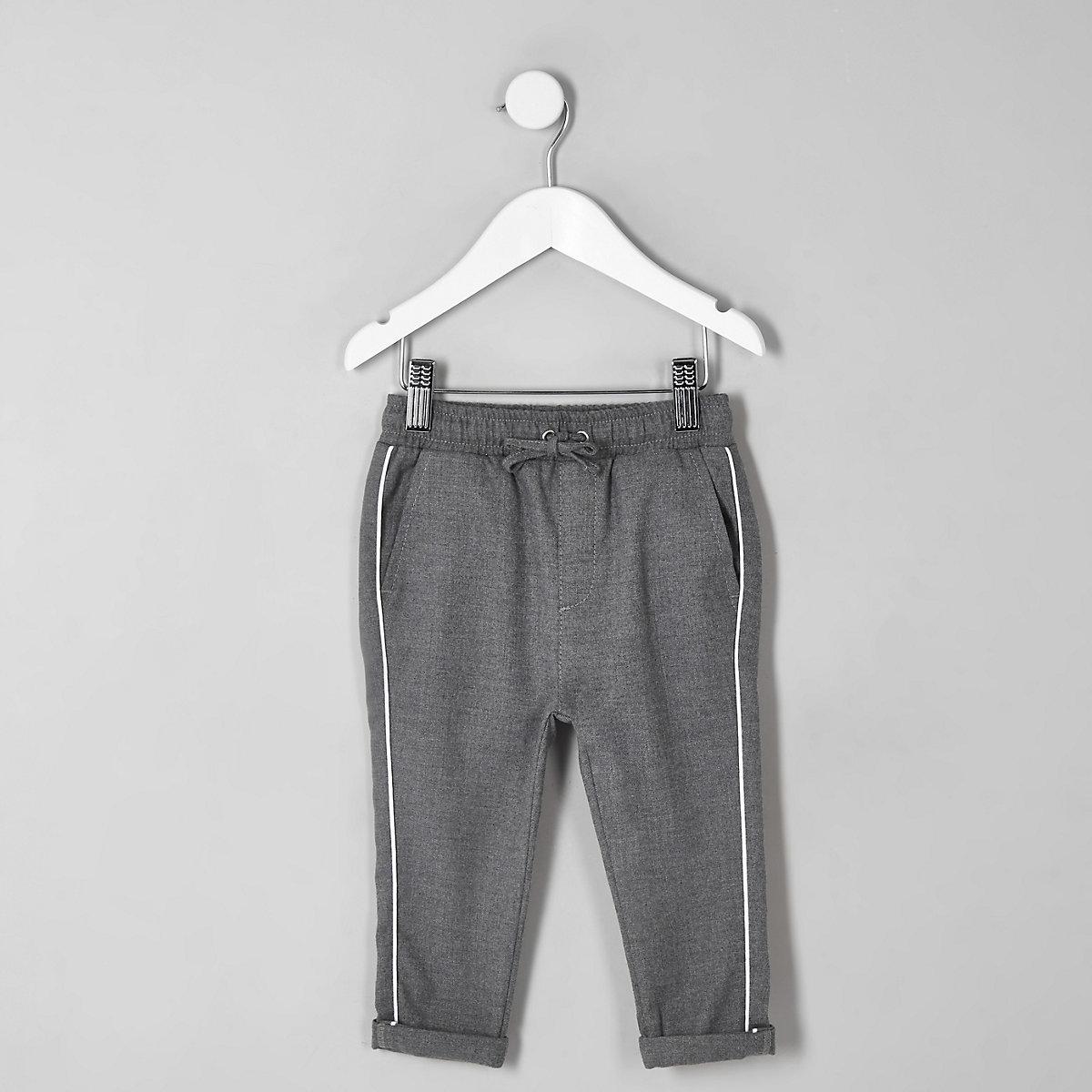 Mini boys grey piped pants