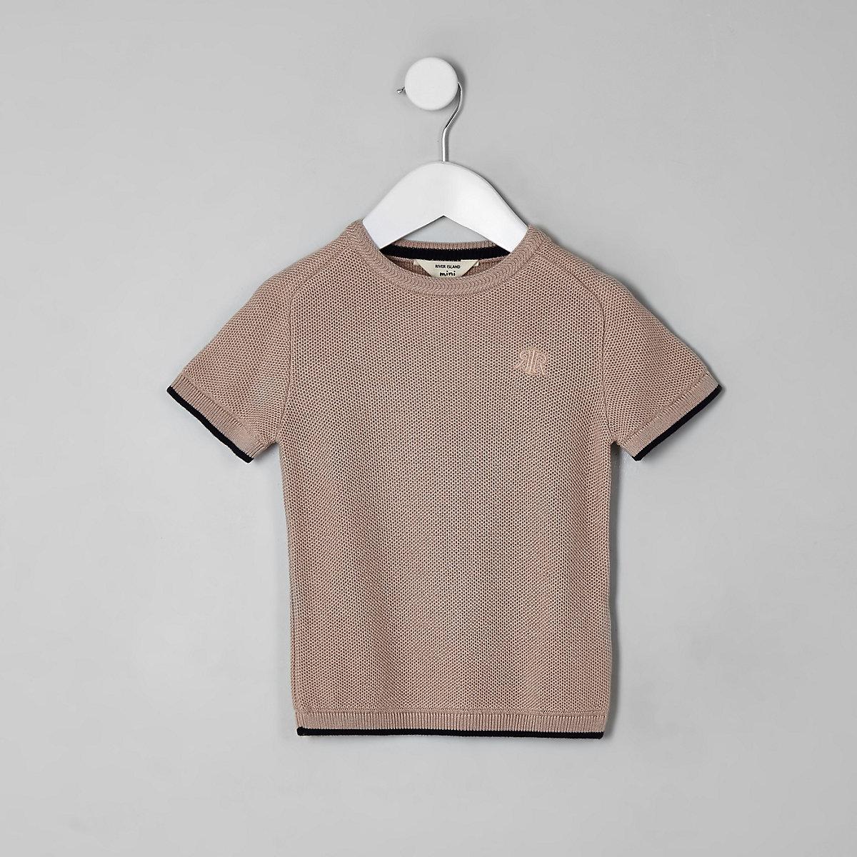 Mini boys pink knitted T-shirt