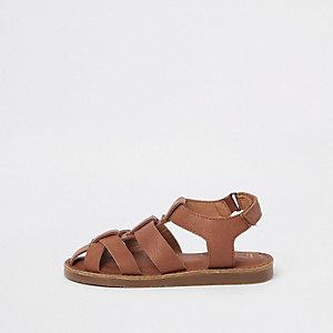 Sandales à lanières marron mini garçon