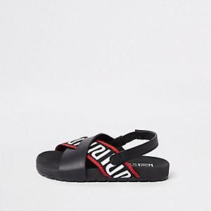 Mini - Zwarte RI instapslippers voor jongens