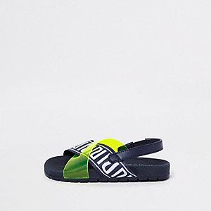 Mini - Gele slippers met gekruiste bandjes en RI-logo voor kinderen