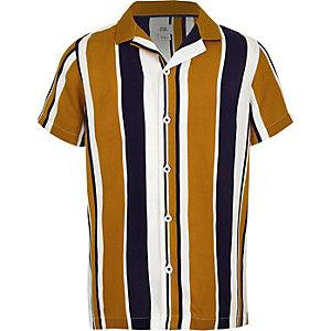 Geel gestreept overhemd met korte mouwen en reverskraag voor jongens