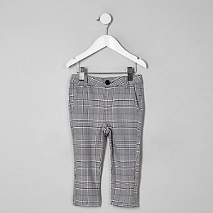 Pantalon skinny à carreaux gris mini garçon