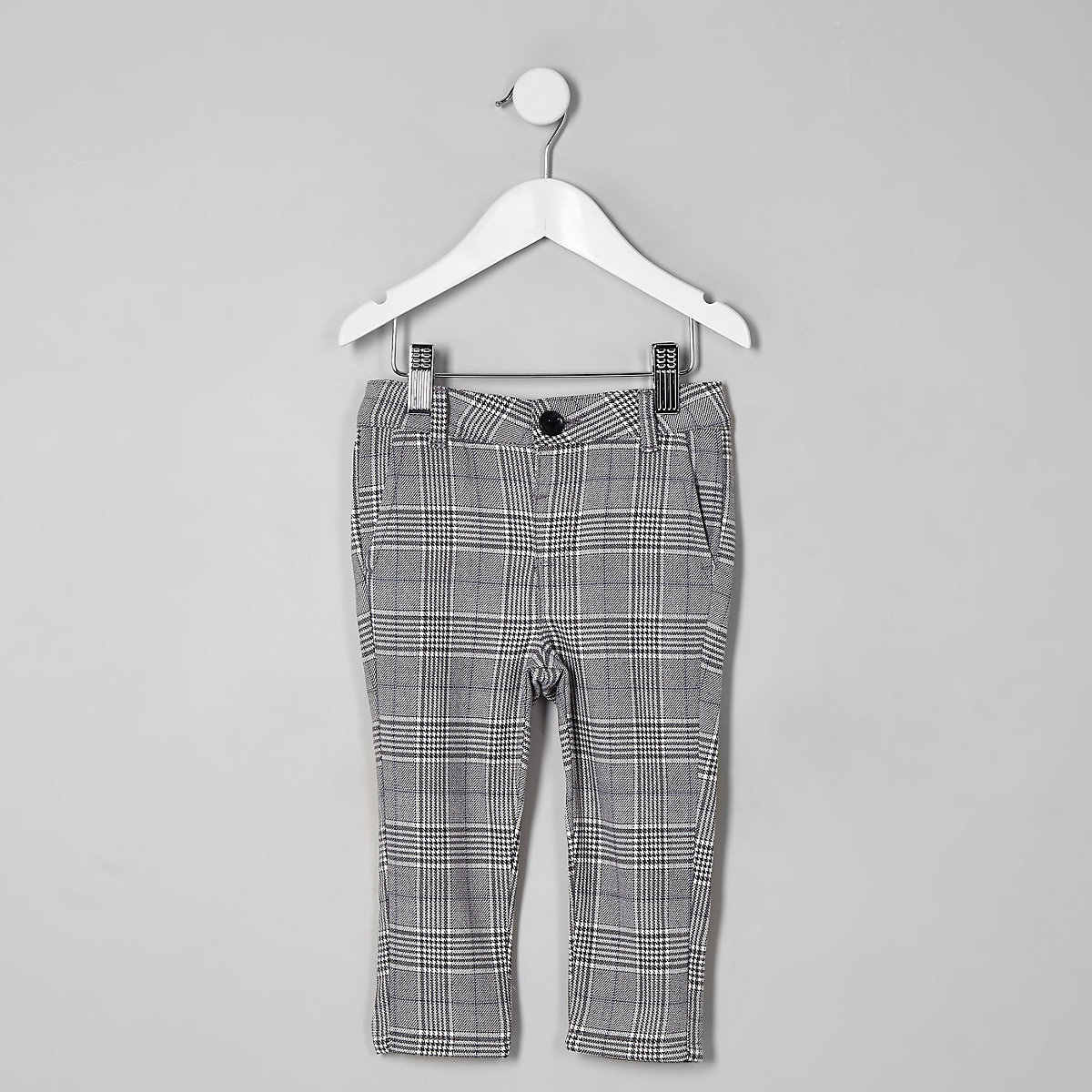 Mini boys grey check skinny trousers