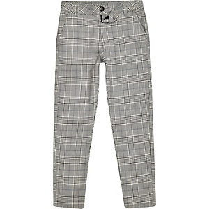 Boys grey check skinny pants