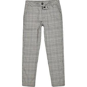 Pantalon skinny à carreaux gris pour garçon