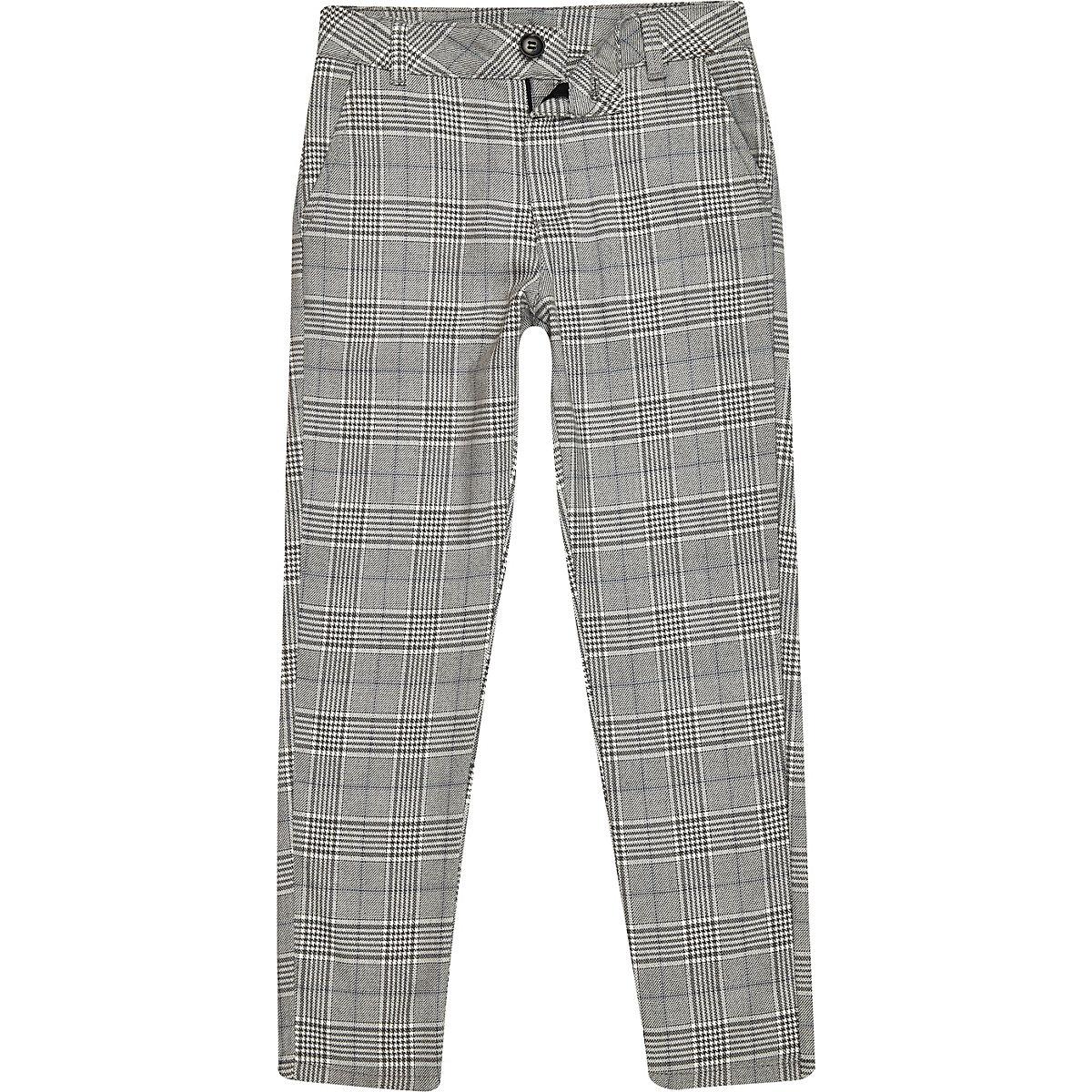 Boys grey check skinny pants