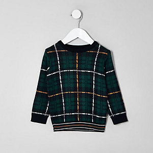 Mini boys green check jumper