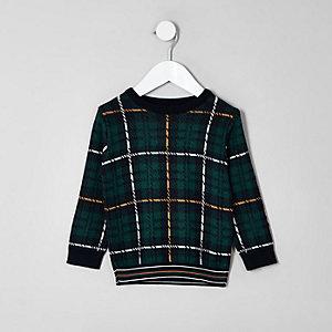 Mini - Groene geruite pullover voor jongens